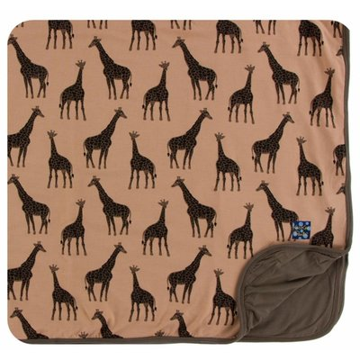 Kickee Pants Print Toddler Blanket (Suede Giraffes - One Size)