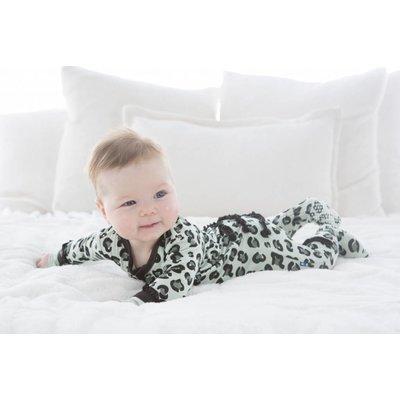 Kickee Pants Print Muffin Ruffle Coverall with Zipper (Aloe Cheetah Print)