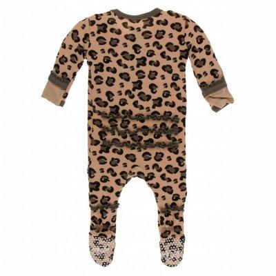 Kickee Pants Print Muffin Ruffle Footie with Zipper (Suede Cheetah Print)