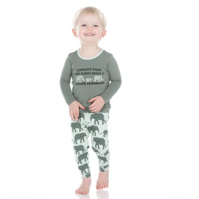 Kickee Pants Print Long Sleeve Pajama Set (Aloe Elephants)