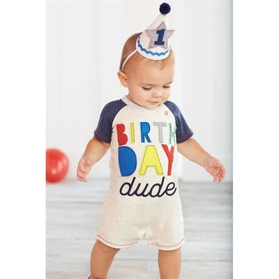 Mud Pie BIRTHDAY DUDE SHORTALL