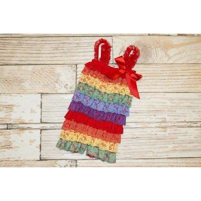 Lincoln&Lexi Stripe Lace Romper (Rainbow)
