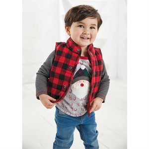 Mud Pie Red & Black Buffalo Check Vest