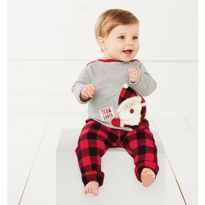 Mud Pie Pre Order- Team Santa Checked Two-Piece Set