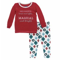 Kickee Pants Holiday Long Sleeve Pajama Set (Natural Vintage Ornaments)