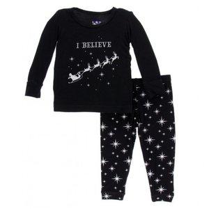 Kickee Pants Holiday Long Sleeve Pajama Set (Silver Bright Stars)