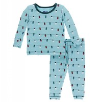 Kickee Pants Holiday Long Sleeve Pajama Set (Glacier Holiday Lights)
