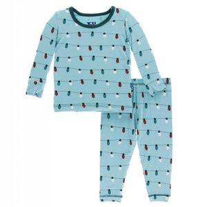 Kickee Pants Holiday Long Sleeve Pajama Set (Glacier Holiday Lights)