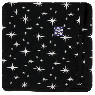 Kickee Pants Holiday Swaddling Blanket (Silver Bright Stars - One Size)