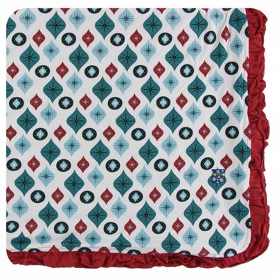 Kickee Pants Holiday Ruffle Toddler Blanket (Natural Vintage Ornaments - One Size)