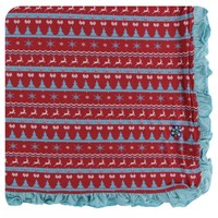 Kickee Pants Holiday Ruffle Toddler Blanket (Nordic Print - One Size)