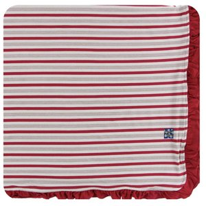Kickee Pants Holiday Ruffle Toddler Blanket (Rose Gold Candy Cane Stripe - One Size)