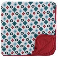 Kickee Pants Holiday Toddler Blanket (Natural Vintage Ornaments - One Size)