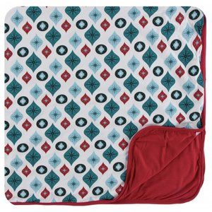 Kickee Pants Holiday Toddler Blanket (Natural Vintage Ornaments - One Size)