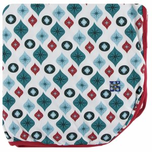 Kickee Pants Holiday Throw Blanket (Natural Vintage Ornaments - One Size)