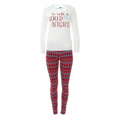 Kickee Pants Women's Print Long Sleeve Fitted Pajama Set (Nordic Print)