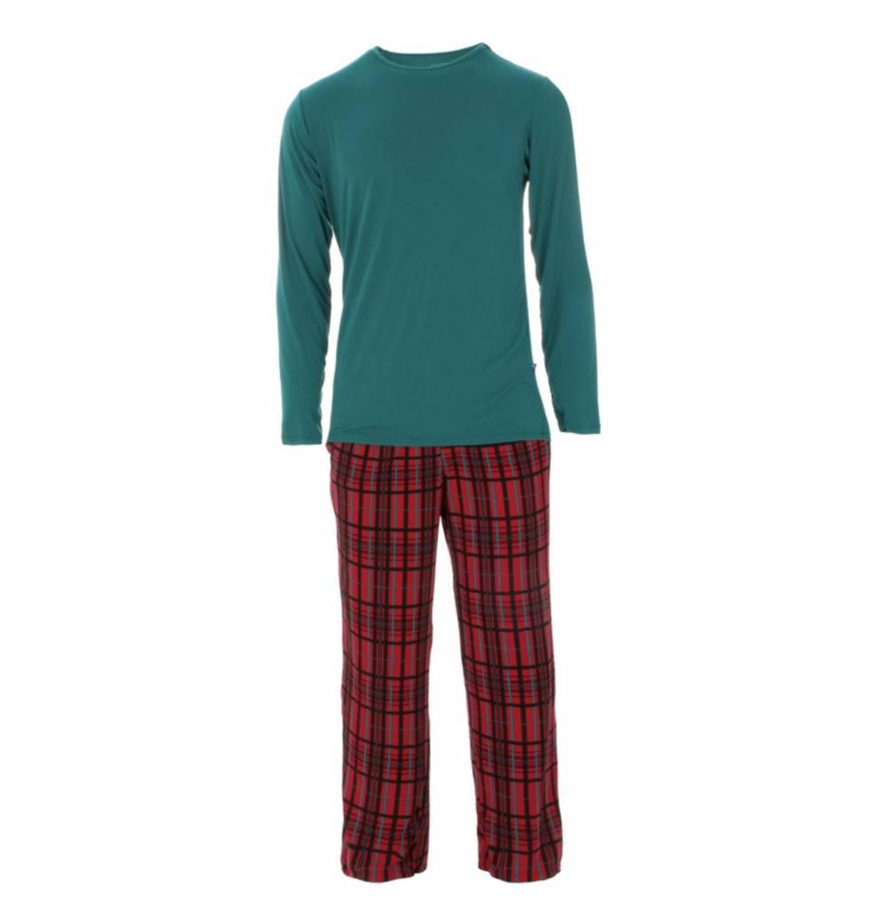 kickee pants mens holiday long sleeve pajama set christmas plaid