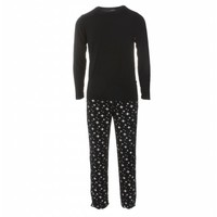 Kickee Pants Men's Holiday Long Sleeve Pajama Set (Silver Bright Stars)