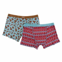 Kickee Pants Holiday Men's Boxer Brief Set (Christmas Cookies & Nordic Print)