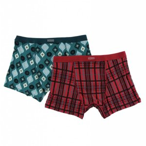 Kickee Pants Holiday Men's Boxer Brief Set (Christmas Plaid & Cedar Vintage Ornaments)