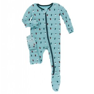 Kickee Pants Holiday Footie with Zipper (Glacier Holiday Lights)
