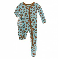 Kickee Pants Holiday Print Muffin Ruffle Footie with Zipper (Christmas Cookies)