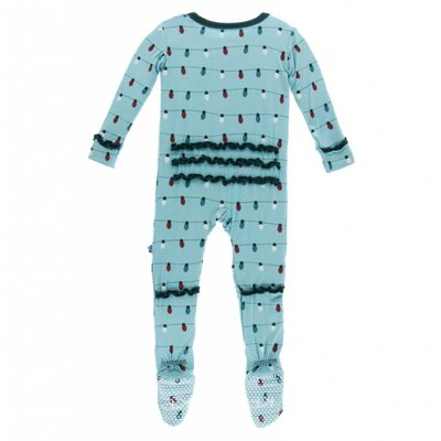 Kickee Pants Holiday Print Muffin Ruffle Footie with Zipper (Glacier Holiday Lights)