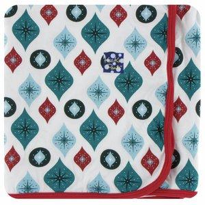Kickee Pants Holiday Swaddling Blanket (Natural Vintage Ornaments - One Size)