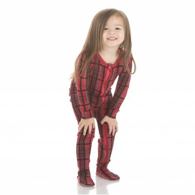 Kickee Pants Holiday Footie with Zipper (Christmas Plaid)