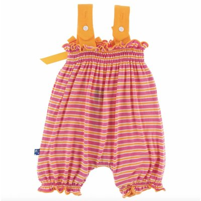 Kickee Pants Print Gathered Romper with Bow (Flamingo Brazil Stripe)