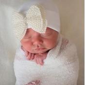iLYBEAN Nursery Beanie Pearl Bow Hat