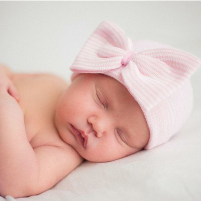 iLYBEAN So Sweet Pink Ribbon Striped Nursery Newborn Girl Hospital Hat - Striped