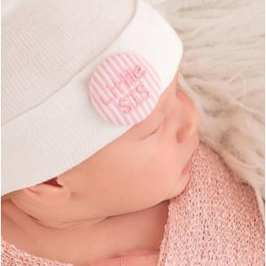 iLYBEAN Pink and White Seersucker Covered Button Little SIS Newborn Girl Hospital Hat