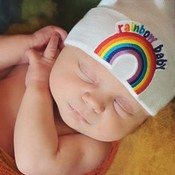 iLYBEAN Rainbow Baby Patch - White Hat