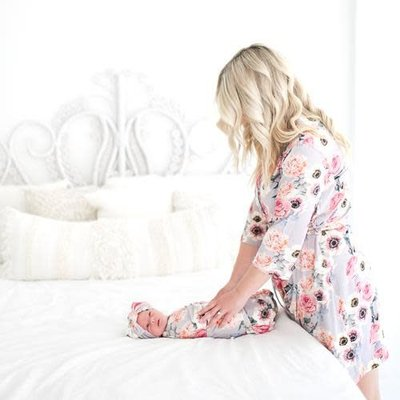 French Gray Floral Robe
