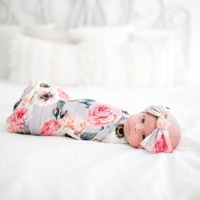 French Gray Floral Swaddle Set