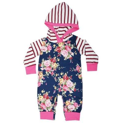 Posh Peanut Floral Stripes Hooded One Piece