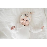 Copper Pearl newborn top knot hat - caroline