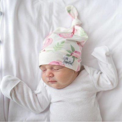 Copper Pearl newborn top knot hat - grace