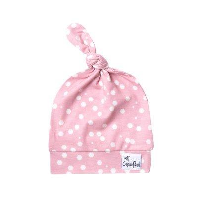 Copper Pearl newborn top knot hat - lucy