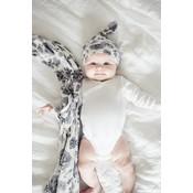 Copper Pearl newborn top knot hat - rowan