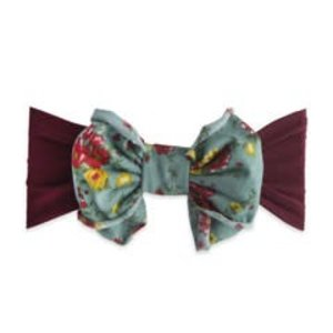 Baby Bling Jersey Bow (burgundy/sage floral)