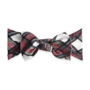 Baby Bling Printed Knot (white tartan plaid)