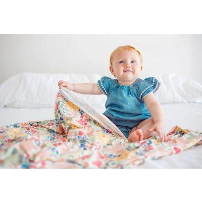 Copper Pearl knit swaddle blanket - lark