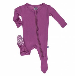 Kickee Pants Basic Muffin Ruffle Footie with Zipper in Orchid