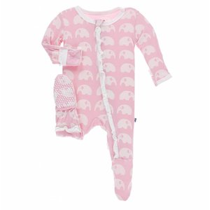 Kickee Pants Essentials Print Classic Ruffle Footie with Zipper in Lotus Elephant