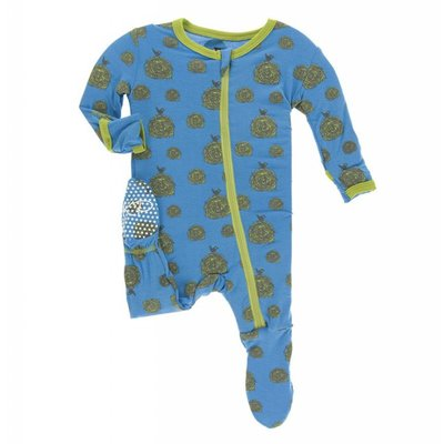 Kickee Pants Print Footie with Zipper in River Hay Bales