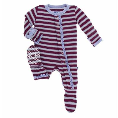 Kickee Pants Print Muffin Ruffle Footie in Girl Tundra Stripe
