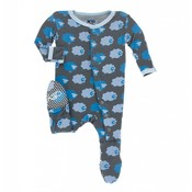 Kickee Pants Print Footie in Stone Sheep