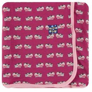 Kickee Pants Print Swaddling Blanket in Berry Cow